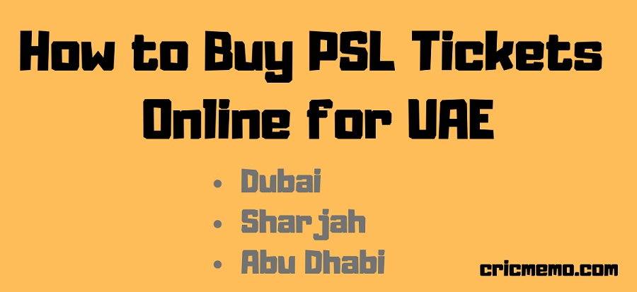 PSL Tickets Online UAE